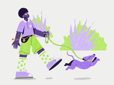 Purple haze 🔮 procreate summer character chill park weed afro weiner dog walk dog haze purple