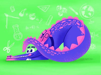 Back to school 🏫 procreate illustration texture character hide student green crock crockodile math