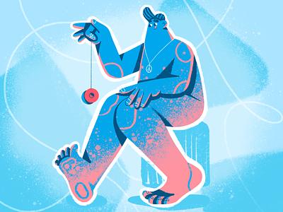 The Procrastinator texture procreate work worry illustration enjoy peace character fun play yoyo