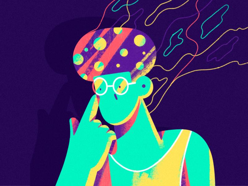 🍄 dude shocked funky trip illustration procreate texture character mushroom