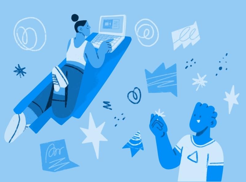 Sign up ✏️ web illustration stars rough doodle character speech bubble laptop