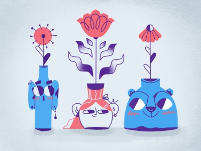 Vases & Faces simple texture procreate stilllife flowers sweet cute character face vase