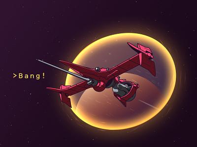 Hello, Space Cowboys! bang spaceship swordfish portal space bebop cowboy illustration debut