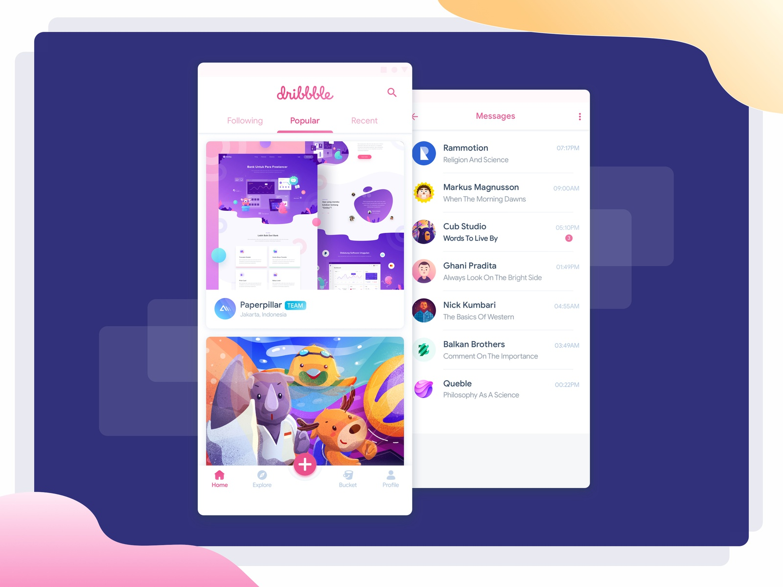 Dribbble App Redesign Concept product page home screen chat app dribbble best shot home feed home feed message communication conversation messaging dribbble app dribbble