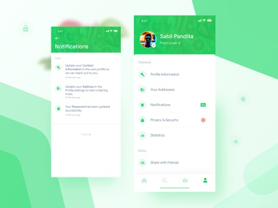 Fruits Subscription App - Profile & Notifications ui home screen design nature green food fitness health gradient conversation user profile user profile chat message messages alert notification notifications iphone x