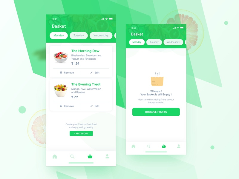 Fruits App Basket basket nature design home screen product page ui food app food green illustration health gym fitness fruits home cart iphone x