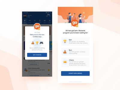 Goibibo Rewards Screen iphone x home screen achievement prize orange dribbble splash onboarding illustration game money earn gift travel rewards goibibo