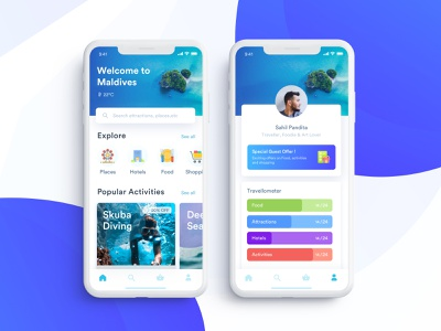 Tourly Travel App for Tourists tourist travel traveller home profile user destination transit touring location places attractions iphone x home screen product page ui dribbble