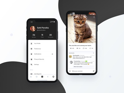 9gag App Redesign dribbble home product page pro bono redesign neat dsign minimal iphone x mockup iphone x download picture gallery user profile poster detail post detail profile