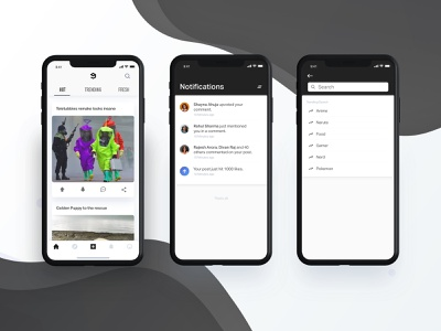 9gag Home Screen dribbble posts post cards alerts notifications explore find search user message messaging conversation logo iphone x home screen product page home app feed home