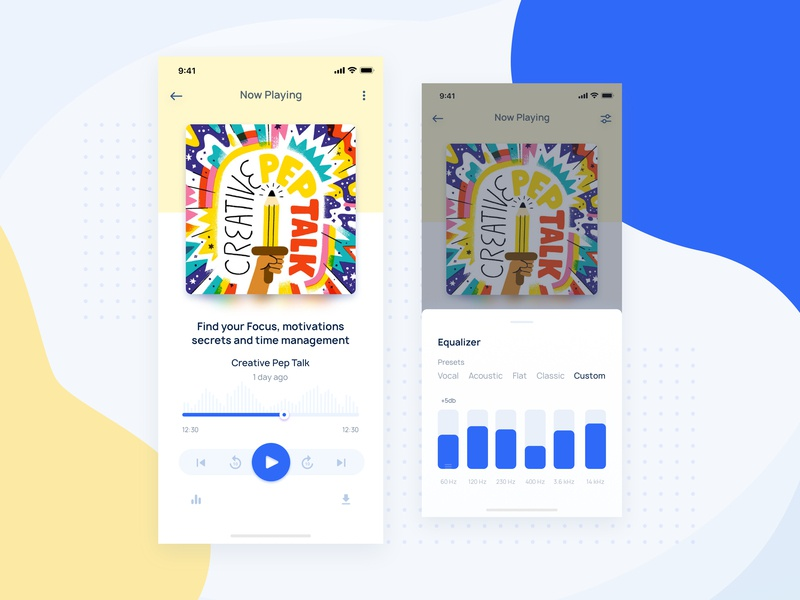 Podzie Podcast App dribbble feed design ui 100 sketch iphone 10 minimal equaliser music player audio app player music podcast product page home screen home iphone x