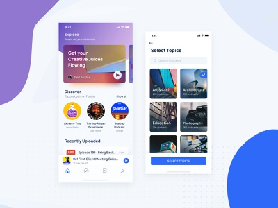 Podcast App Home Screen feed navigation topics categories explore cards banner concept home screen home blue uipractice music player music podcasting podcast cover podcast iphone x