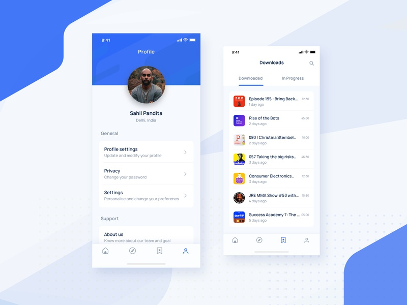 Podcast Profile & Downloads home profile downloads user account blue feed iphone x dribbble minimal user account podcast playlist music player card cards navigation audio home screen