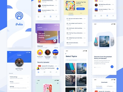 Podcast App UI KIT Collage search explore conversation music app podcast minimal splash screen onboarding ui 100 ui kit freebie product page feed profile iphone 10 home screen
