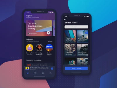 Podcast UI KIT Dark Mode freebie ui kit ui 100 onboarding splash screen music app explore search profile feed minimal ui iphone x home screen product page home podcast dark background black dark