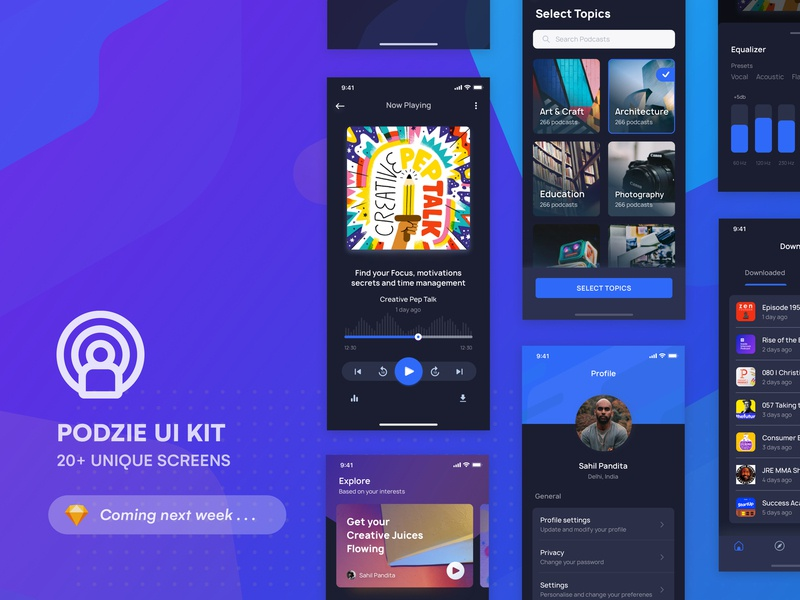 Podcast App UI KIT | Coming Soon  🔥🔥 dark black dark background podcast home product page home screen iphone x ui minimal feed profile search explore music app splash screen onboarding ui 100 ui kit freebie
