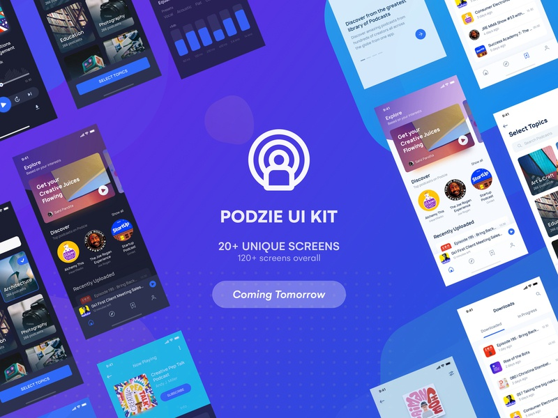 Podcast App UI KIT | Coming Tomorrow freebie ui kit ui 100 onboarding splash screen music app explore search profile feed minimal ui iphone x home screen product page home podcast dark background black dark