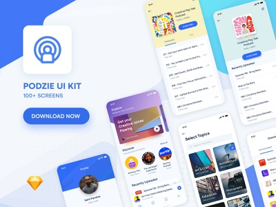 Podcast App UI Kit | Light & Dark | Freebie freebie ui kit ui 100 onboarding splash screen music app explore search profile feed minimal ui iphone x home screen product page home podcast dark background black dark