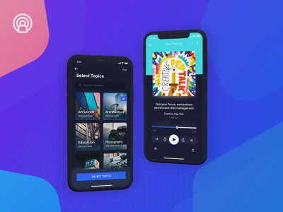 Podcast App UI Kit | Light & Dark | Freebie dark black dark background podcast home product page home screen iphone x ui minimal feed profile search explore music app splash screen onboarding ui 100 ui kit freebie