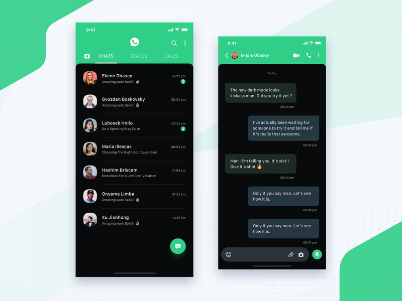 Whatsapp Dark Mode Concept text chat bot new user black dark messenger whatsapp chat conversation message messaging freebie design minimal feed profile home iphone x home screen