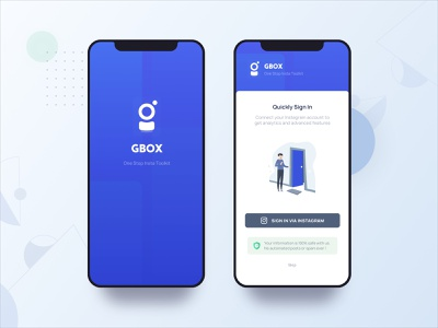 Gbox Rebrand and Quick Sign-In social tool box mockup iphone tool blue sign in login sign up redesign logo branding toolkit instagram