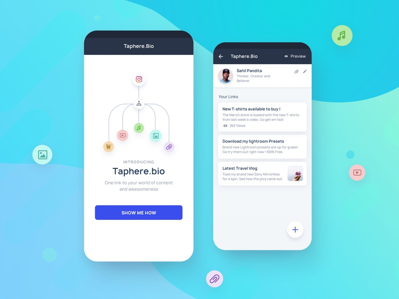 Taphere.Bio Instagram Tool new link link walkthrough toolkit gbox grambox instagram post instagram stories branding illustration iphone x home ui explore onboarding minimal feed home screen product page instagram