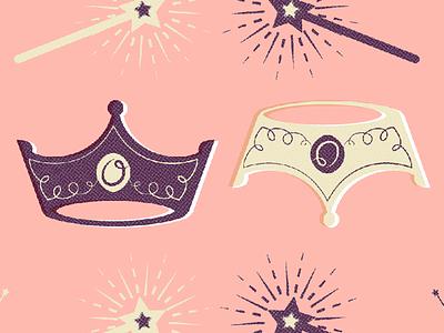 Olivia reigns! lulu olivia crown wand pattern illustration princess fairy magic