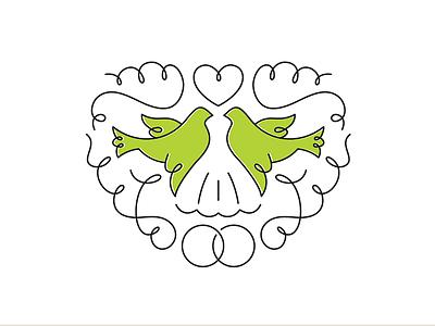 Wedding Show wedding expo logo branding bird heart dress filigree dove ornamental ring