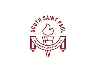 SSPTA logo union teacher education pencil torch banner south saint paul mn