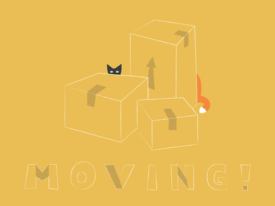 Moving... again moving boxes cats tail lettering illustration stu marley kitones shiny future