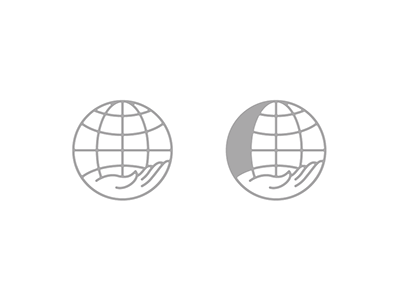 Globish. mark logo globe hand