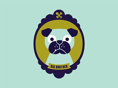 Milo invite milo pug portrait baby shower bone rattle illustration snaggle tooth big brother