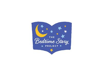 Bedtime logo bedtime story book stars moon literacy