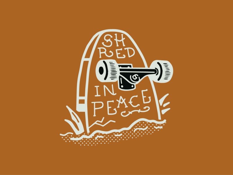 Ride Slow | Shred in Peace american traditional procreate illustration sketch hand lettering lettering typography type skateboarding skateboard grave tombstone