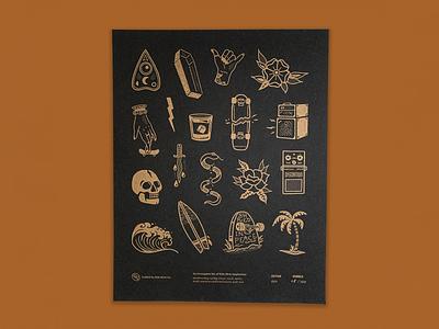 Ride Slow | Flash Sheet Print music occult skull surfing skateboarding sketch illustration metallic risograph print design flash tattoo