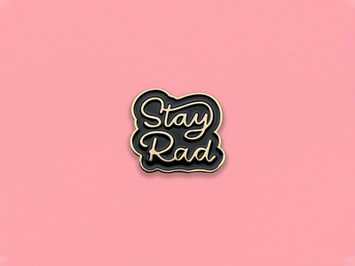 Ride Slow | Stay Rad Pin badge simple logotype gold hand lettering lettering script typography type stay rad pin enamel pin