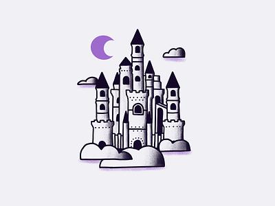 Tour of Terror   Spooky Castle halloween october inktober american traditional purple illustration drawing sketch horror castle spooky tour of terror