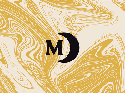 Midnight Society | Groovy Monogram typography type branding brand crescent spooky moon horror marble pattern m monogram