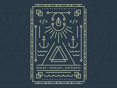 Shipyard | Shirt Design playing card pattern icon code vector logo geometric card color branding brand badge