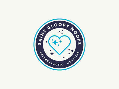 Cartoon Rebrand | St. Gloopy Noops Badge brand branding logo typography type color badge health cartoon rick and morty hospital st gloopy noops