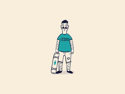 Cartoon Skate Punks | Bob Belcher bobs burgers bob belcher cartoon illustrator illustration sketch draw drawing lowbrow color skate skateboard