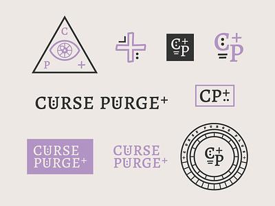 Cartoon Rebrand   Curse Purge Plus Assets rick and morty monogram typography type badge logo curse occult color cartoon branding brand