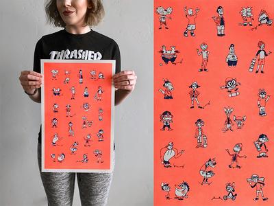 Cartoon Skate Punks | Risograph Print