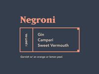 Spirits & Type   Negroni