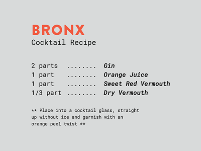 Spirits & Type | The Bronx