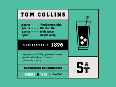 Spirits & Type | Tom Collins