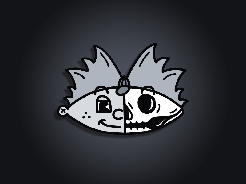 Skeletoons | Arnold cartoon illustration simple avatar disney 30s retro black  white nickelodeon hey arnold skull skeleton