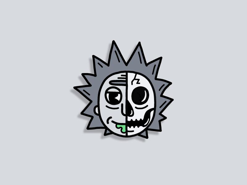 Skeletoons | Rick face disney avatar black  white retro 30s simple illustration cartoon rick and morty skeleton skull