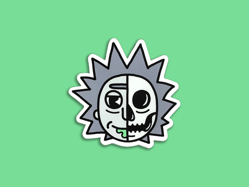 Skeletoon | Rick Sticker illustration simple cartoon skeleton skull sticker avatar rick sanchez rick and morty disney retro 30s