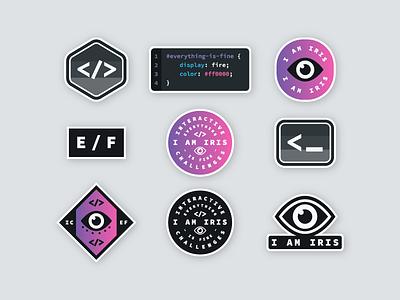 Challenges Brand | Sticker Sheet badge technology tech typography type gradient branding brand coding developer code sticker